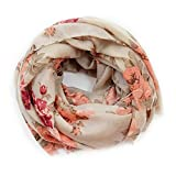 Scarves for Women: Lightweight Elegant Floral Fashion shawl by MIMOSITO (Beige-Peach Rose)