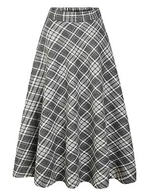 IDEALSANXUN Women's Elastic Waist Plaid A-line Wool Long Pleated Skirt