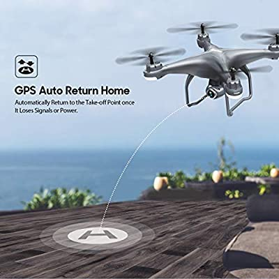 Potensic T25 GPS FPV RC Drone with 720P HD Camera Live Video 120° Wide-Angle, Auto Return Home, Quadcopter with Follow Me, Altitude Hold, Long Control Range and Modular Battery, Gray