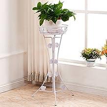 Iron Flower Frame Floor Balcony Hanging Flower Pots Living Room Folding Green Radish ( Color : White )