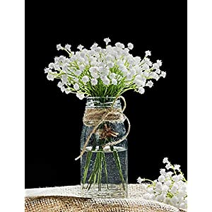 DuHouse Baby's Breath Artificial Flowers Fake Gypsophila Floral Bulk for Wedding Party Home Outdoor Decoration (10pcs, White) 3
