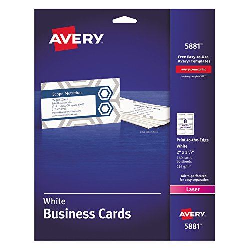 Avery 5881 Print-to-the-Edge Microperf Business Cards, Color Laser, 2 x 3 1/2, White (Pack of 160)