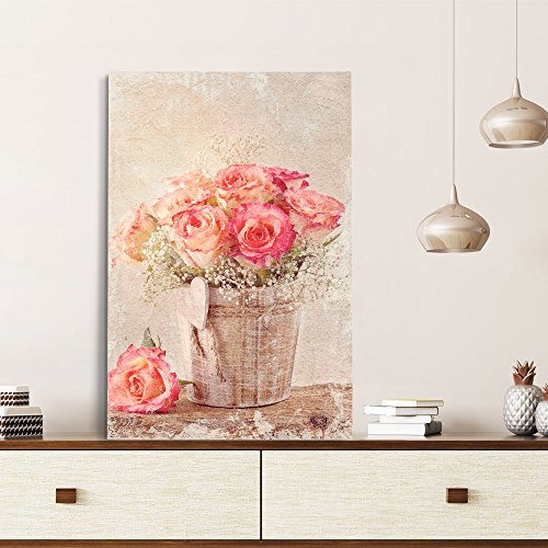 wall26 - Canvas Wall Art - Vintage Style Roses in Wood Bucket - Giclee Print Gallery Wrap Modern Home Decor Ready to Hang - 24x36 inches ()