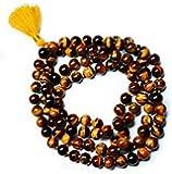 Malabar Gems Tiger's Eye Mala Prayer Beads 108 Beads 4-5 Mm For Unisex (With Lab Certification)