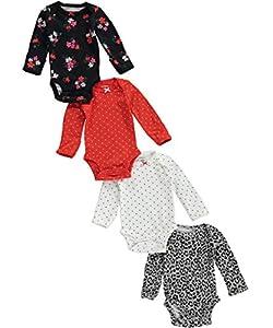 Carter's Baby Girls' 4 Pack Print Bodysuits (Baby)
