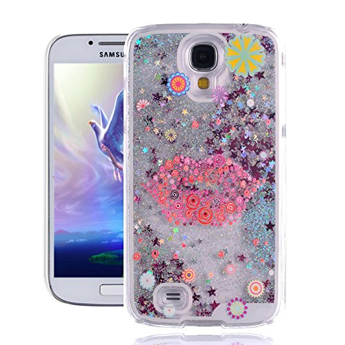 Galaxy S4 Case, Samsung S4 Case, EMAXELER 3D Creative Painted Pattern Flowing Liquid Floating Bling Shiny Liquid Polycarbonate Hard Case for Samsung Galaxy S4 + Stylus Pen-Silver: Lips