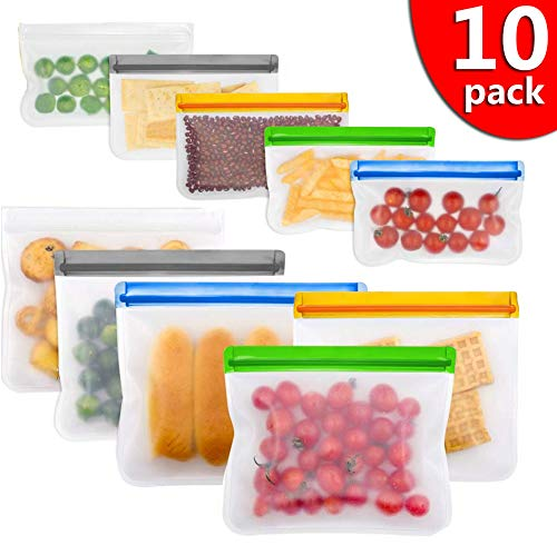 Reusable Snack Bags 10 Pcs kitchen Organization And Storage Silicone and Plastic Free Freezer Packs for Food Lunch Sandwich Small Kids Snack Size Travel Baggies Bag with Zipper and seal Lock