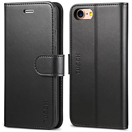 iPhone 8 Case, iPhone 7 Wallet Case, TUCCH Premium PU Leather Flip Folio Wallet Case with Card Slot, Cash Clip, Stand Holder and Magnetic Closure [TPU Shockproof Interior Protective Case], Black by TUCCH (Image #8)