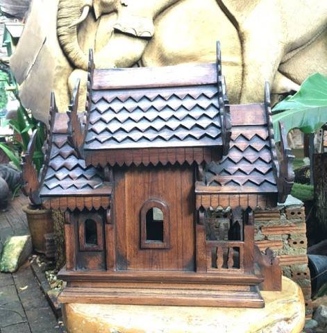 Super Large Antique Handmade Spirit House Temple Haunted House Temple, 16'' x 12'' x20'', Products From Thailand by WADSUWAN SHOP