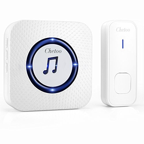 CHETOO Wireless Doorbell System- Best Set Of 1 Plug-In Long Range Wireless Receiver + 1 IP55 Waterproof Remote Push Button– Top Remote Doorbell With 55 Chimes & LED Indicator For Home/ Office- White (Antique Looking Camera)