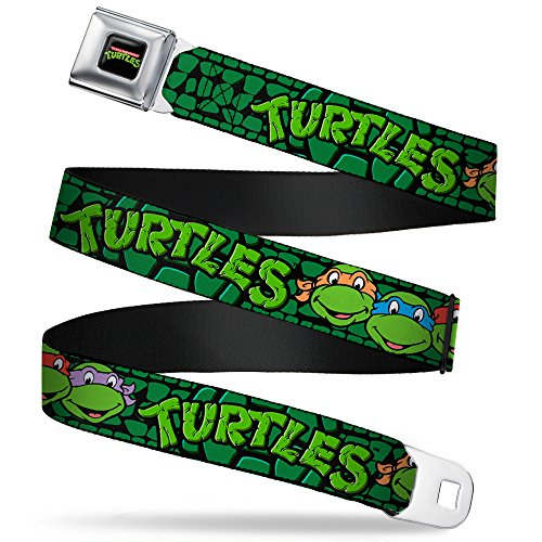 - Buckle-Down Seatbelt Belt - Classic TMNT Group Faces/TURTLES Turtle Shell Black/Green - 1.5