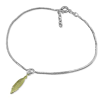 Beaded Double Chain Sterling Silver Anklet / Ankle Bracelet / Ankle Chain - 9.75
