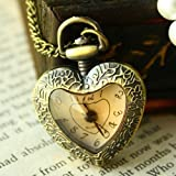 Fashion Delicate Heart Antique Women Pocket Watch Sweater Necklace Chain