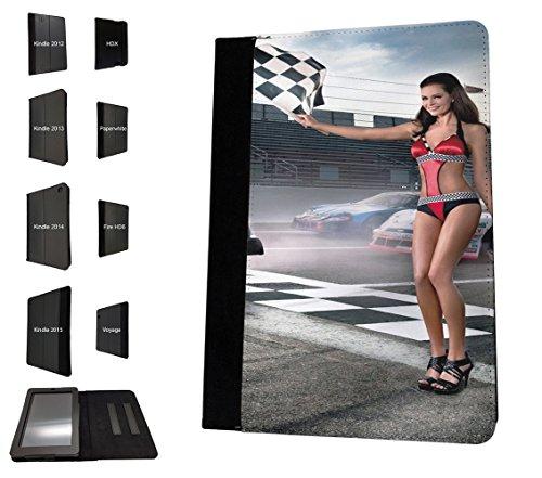 002817 - Sexy Race Girl Finish Flag F1 Nascar Bikini Design Amazon Kindle Fire HD 8 (2017) Flip Case Purse pouch Stand - Hd Bikinis