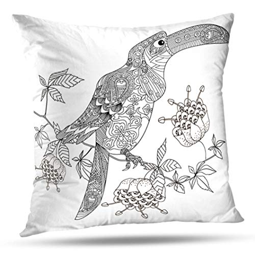 Geericy Decorative Throw Pillow Covers Coloring Book with Bird Sketch Doodle and Stress Apple Blossom Cushion Cover 18X18 Inch for Bedroom Sofa ()