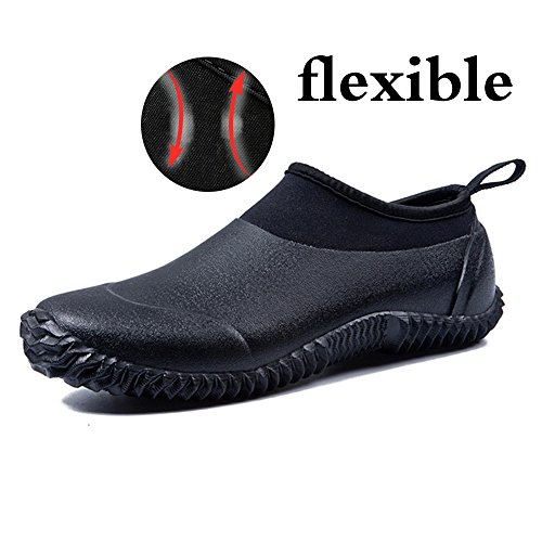 JACKSHIBO Rain Boots Shoes, Women Men Garden Shoes Waterproof Low Ankle Car Wash Shoes, Black