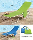 "Beach Lounge Chair Cover Towel With Fitted Pocket Top and Side Pockets - 78""L x 22""W Converts Into 22""L x 15""H Tote Bag - Lime Green"
