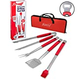 "Budweiser Grilling Tools- Extra Long 4 Pc 20"" Barbecue Grill Set with Carrying Case and Built-in Bottle Openers"