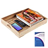 Wood Serving Tray – Suitable for use as an Ottoman Tray, Breakfast in Bed Tray and Home Décor Style Piece – Easy to Carry Handles – 18 x 14 inches – Natural Wood + FREE Home Décor eBook