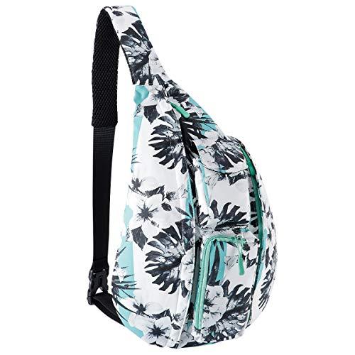 Unisex Rope Bag Large Sling Backpack Mutilpurpose Shoulder Crossbody Bag with Earphone Jack for Men Women Students Boys Girls (Green Flower)