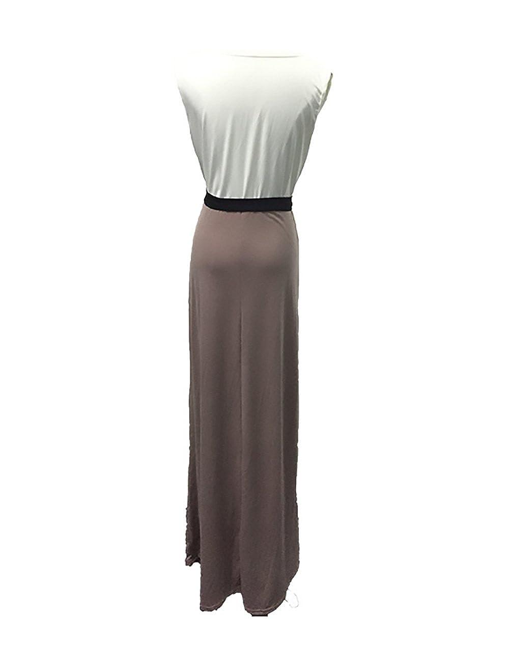 Mujer Vestidos Dulce Lindo Chic Casual Verano Sin Mangas V Cuello Vestido con Cinturón Patchwork Slim Fit Color Sólido: Amazon.es: Ropa y accesorios