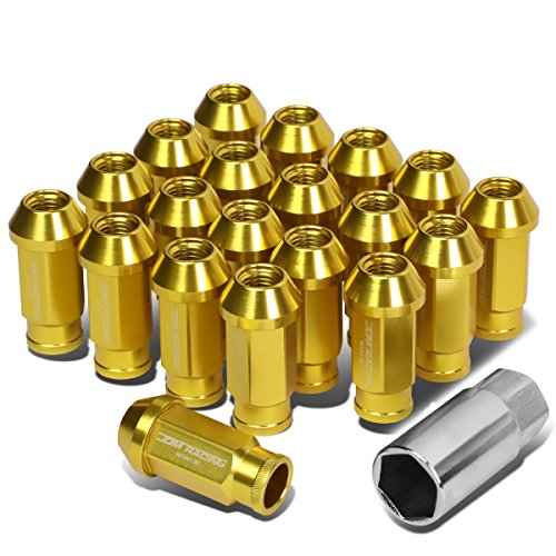 20-Piece M12 x 1.5 Extended Aluminum Alloy Wheel Lug Nuts+Adapter Key (Gold)