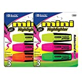 BAZIC Mini Fluorescent Highlighters with Cushion Grip (3/Pack), Case of 144(2328-144)