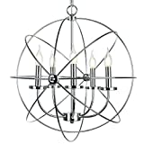 EdiMoM Brand; Silver Rustic Barn Spherical Chandelier Max 300W with 5 Lights Metal Hanging Fixture