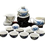 ufengke Ceramic Porcelain Kung fu Tea Cup Set, Chinese Tea Set With Tea Bowl And Strainer, Blue Flower And Butterfly Painting