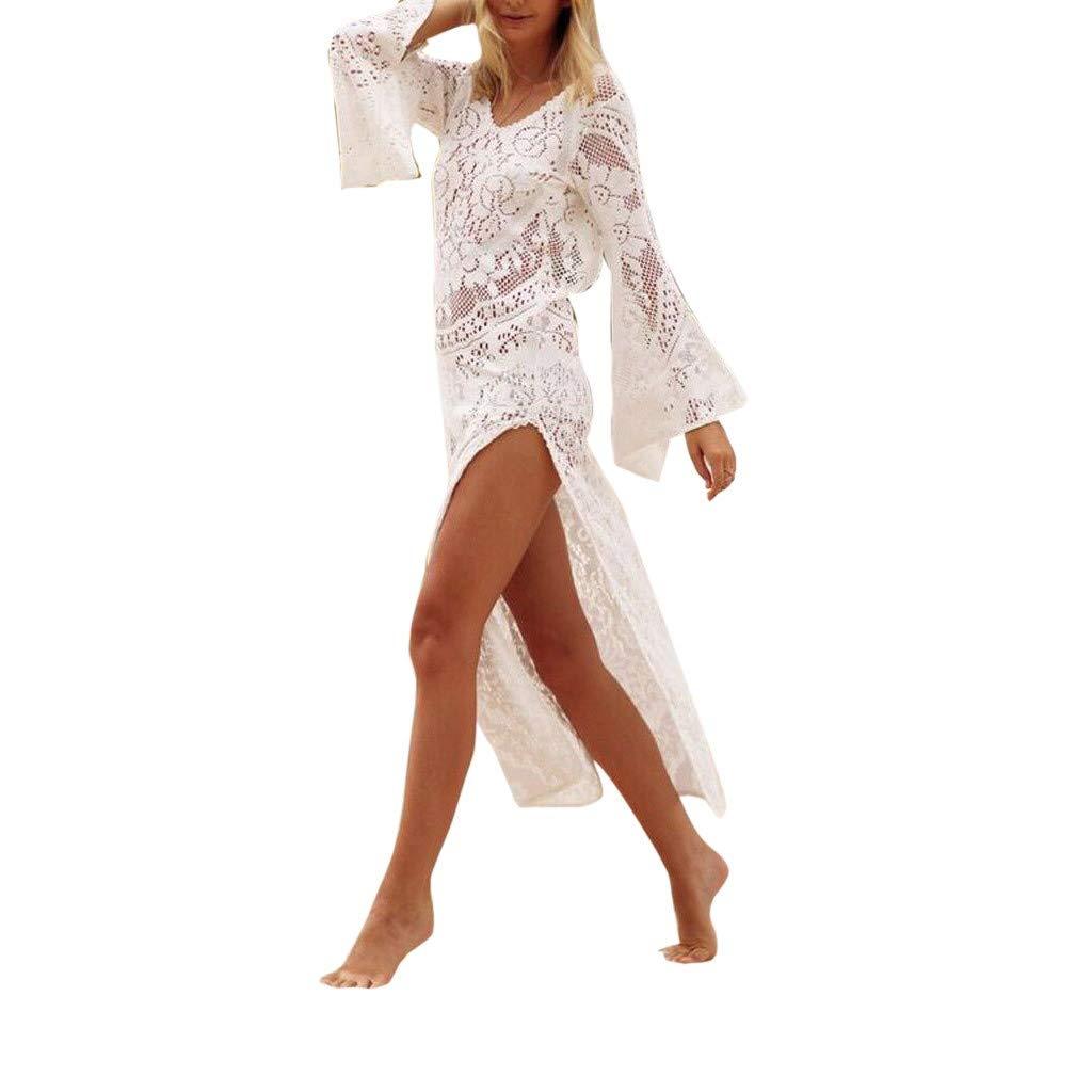 Goosuny Damen Strandponcho Lange Boho Rückenfrei Spitze Bikini Cover Up Loose Langarm Flare Sleeve Strandkleid V-Ausschnitt Sommerkleid Maxikleid Sonnenschutz Kleid