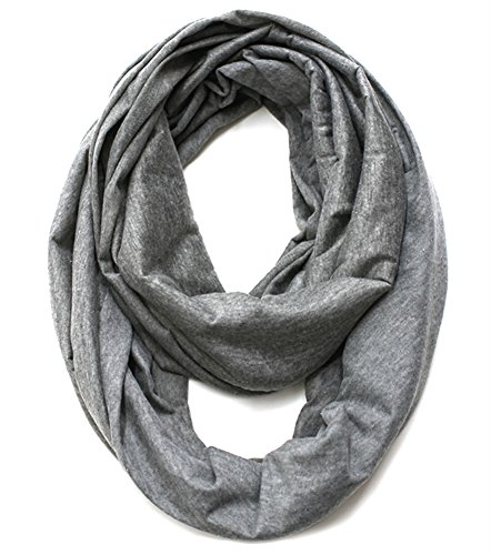 Elegant Solid Color Infinity Loop Jersey Scarf (heather grey)