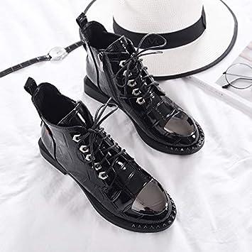 Shukun Botines Botines con Tachuelas Planas de Metal de otoño e Invierno Botas con Cordones Laterales de Martin Boots Botines de Mujer con Cordones: ...