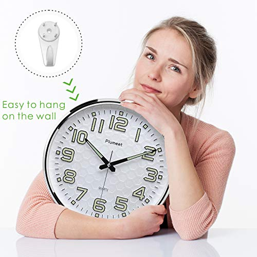 Plumeet Night Light Wall Clocks - 13 Inches Clock with Silent Non-Ticking Glowing Function - Good for Home Kitchen… 6