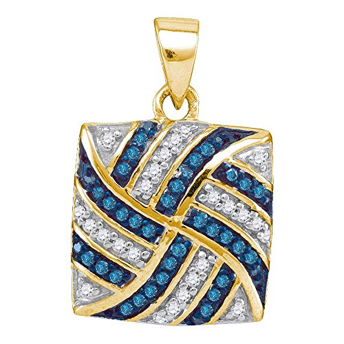 Roy Rose Jewelry 10K Yellow Gold Womens Round Blue Color Enhanced Diamond Square Pinwheel Pendant 1/4-Carat ()