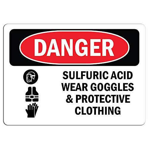 Danger Sign - Sulfuric Acid Wear Goggles | Label Decal Sticker Retail Store Sign Sticks to Any Surface 8