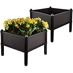 T4U Plastic Assemble Garden Planter Raised Elevated Garden Bed, for Herbs, Flowers, Vegetable Gardening - Brown, Pack of 2