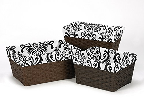 Sweet Jojo Designs 3-Piece Fits Most Black and White Damask Basket Liners for Sloane Bedding Sets