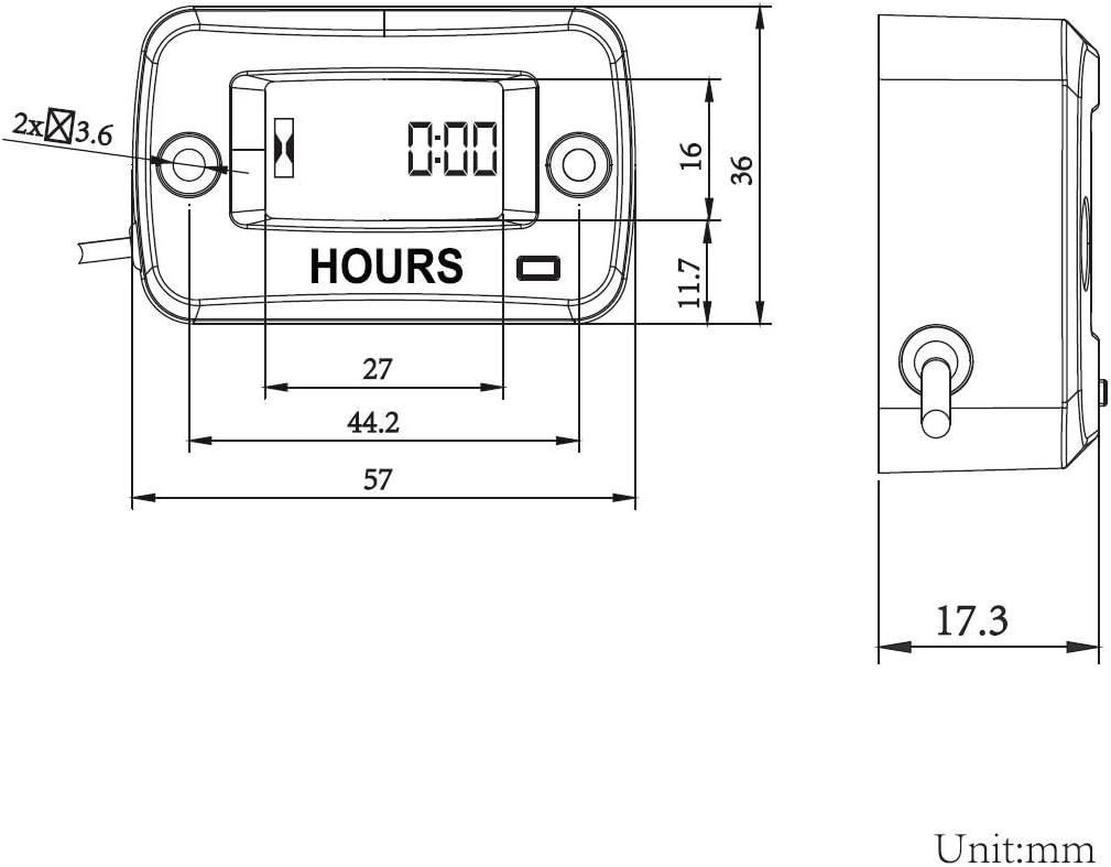 Jayron JR-HM019 Digital LCD Waterproof Gasoline Engine Hour Meter Maintenance Meter for Paramotors,Chainsaws,Generators,Mowesr,Model Boats