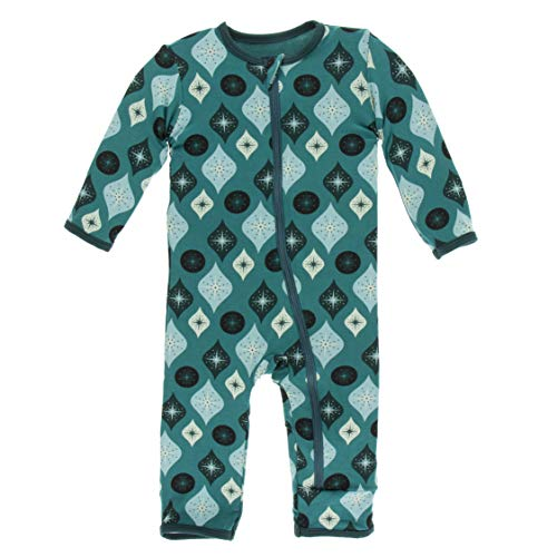Kickee Pants Little Girls and Boys Holiday Print Coverall with Zipper - Cedar Vintage Ornaments, 3-6 Months
