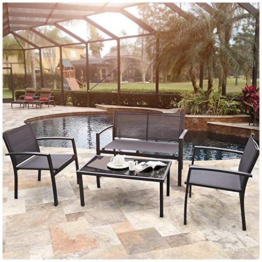 Garden and Outdoor Flamaker 4 Pieces Patio Furniture Outdoor furniture Outdoor Patio Furniture Set Textilene Bistro Set Modern Conversation… patio furniture sets