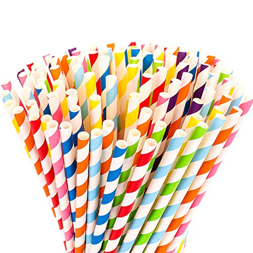 Hiware 200-Pack Biodegradable Paper Straws - 8 Different Colors Rainbow Stripe Paper Drinking Straws - Bulk Paper Straws for Juices, Shakes, Smoothies, Party Supplies - Red Unwrapped Stripe Straws