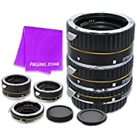 Macro Auto Focus Extension Tube Set 13-21-31mm DG for Canon EOS Rebel Digital Cameras XSi, T1i, T2i, T3, T3i, T4i, T5, SL1, T5i, T6, T6i, T6s, 7D Mark II, 70D, 80D, 6D, 5D Mark III, 5Ds, 5DS-R (Black)