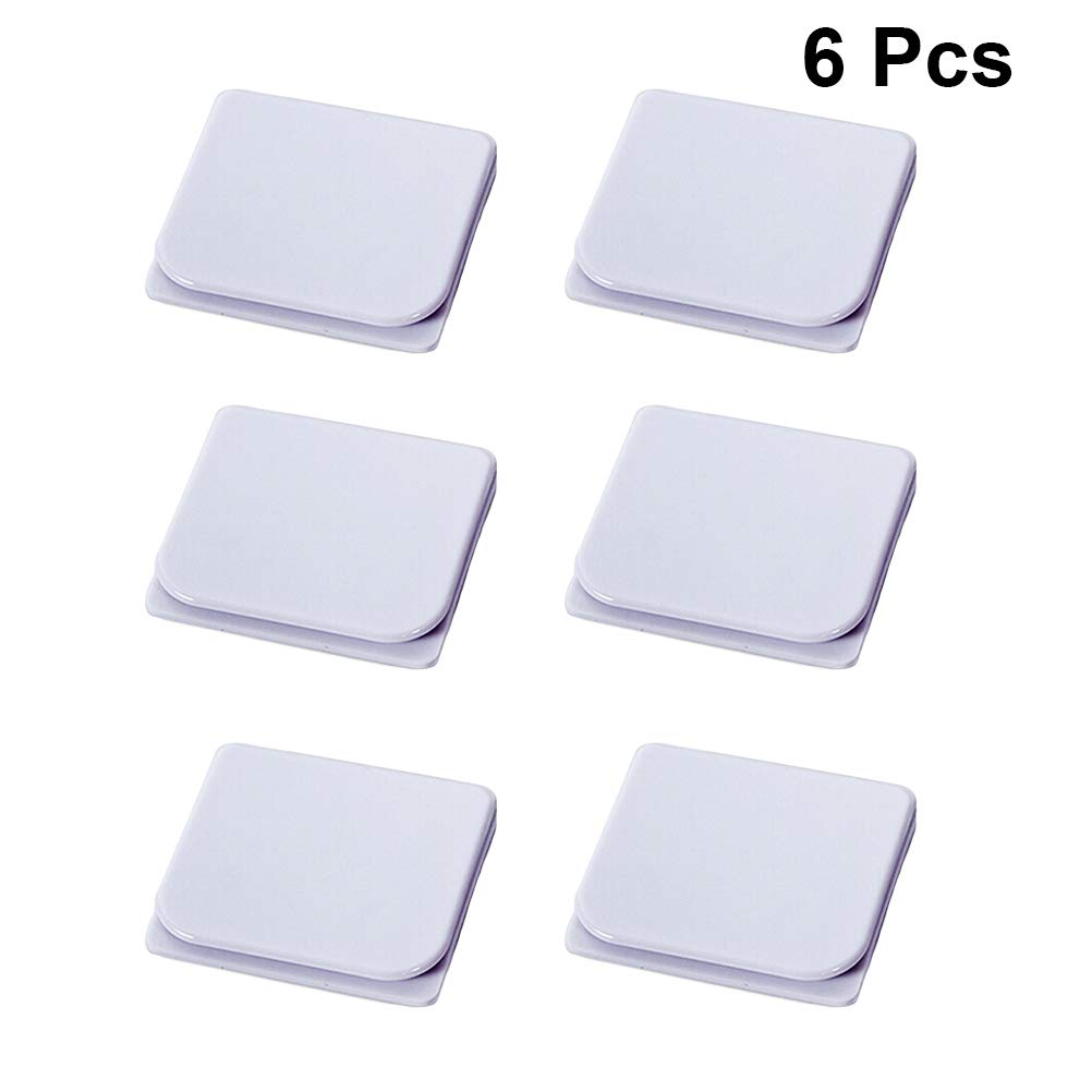 TOPBATHY 6pcs Windproof Stop Protect Clips Anti Splash Shower Splash Guard Curtain Clip Self Adhesive Water Leaking Shower Curtain Clips White