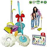 Kids Cleaning Set - Skoolzy Toddler Toys | Montessori Materials with Real Microfiber Spin Mop, Broom and Dustpan Cloth, Spray Bottle, Extendable Duster for Little Girl or Boy | Non Toxic Recipes eBook