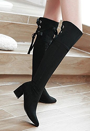 Aisun Womens Dressy Faux Suede Inside Zip Lace Up Pointed Toe Slim Mid Block Heel Knee High Boots With Zipper Black P0nysjT