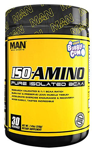 (MAN Sports Iso-Amino BCAA Powder, Grape Bubble Gum, 210 Gram)