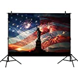 Allenjoy 7x5ft photography backdrops Patriotic American Flag independence Day Statue of Liberty banner photo studio booth newborn baby shower background photocall