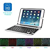 MOSTOP iPad Mini 4 Keyboard Bluetooth Slim Aluminum Wireless Keypad With 7-Color LED Backlit & Built-in 2800mAh Power Bank for iPad Mini 4 (Silver)