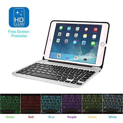 MOSTOP iPad Mini 4 Keyboard Bluetooth Slim Aluminum Wireless Keypad With 7-Color LED Backlit & Built-in 2800mAh Power Bank for iPad Mini 4 (Silver) by MOSTOP