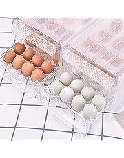 Egg Holder Refrigerator Storage Box Drawer Organizer Type Kitchen Stackable Container Double Layer 34 Transparent Egg Storage Box